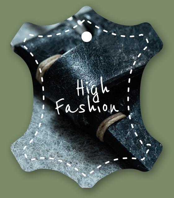 Etikett High Fashion auf grünem Hintergrund